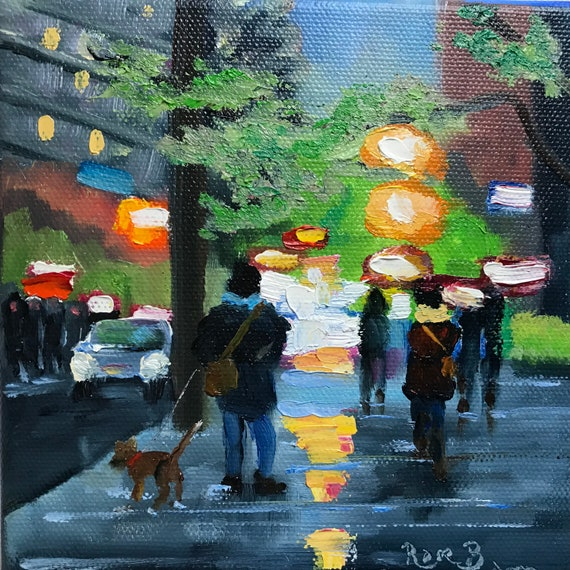 City Art, Nocturne, Small canvas art, Original, Small, Oil Painting, Tiny Art, NYC