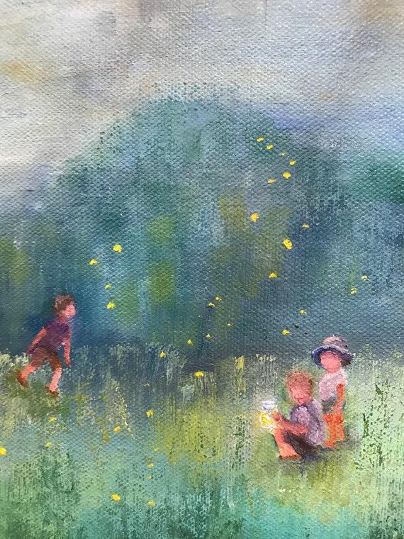 Child Painting, tiny canvas art, Night Painting, Fireflies, Original painting, small flower painting