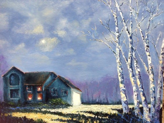 Moonlight Landscape, Big Sky Painting, Large Oil Painting, Indiana Sky, Rural Landscape, Cloudy Skyscape