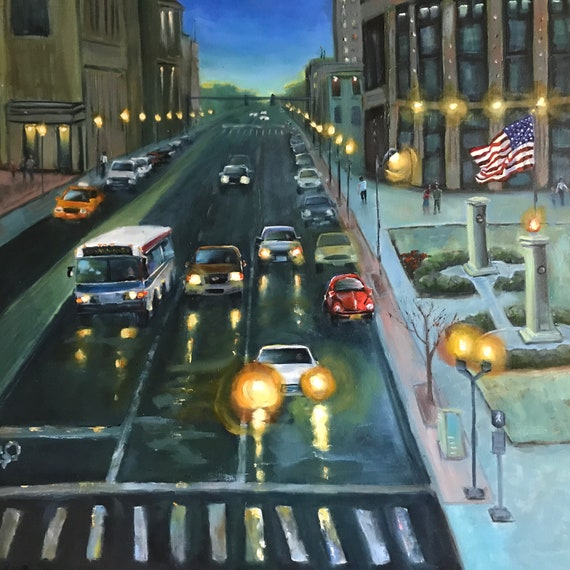 Cityscape, Kentucky city, Lexington painting, large canvas painting, nocturne, transportation painting