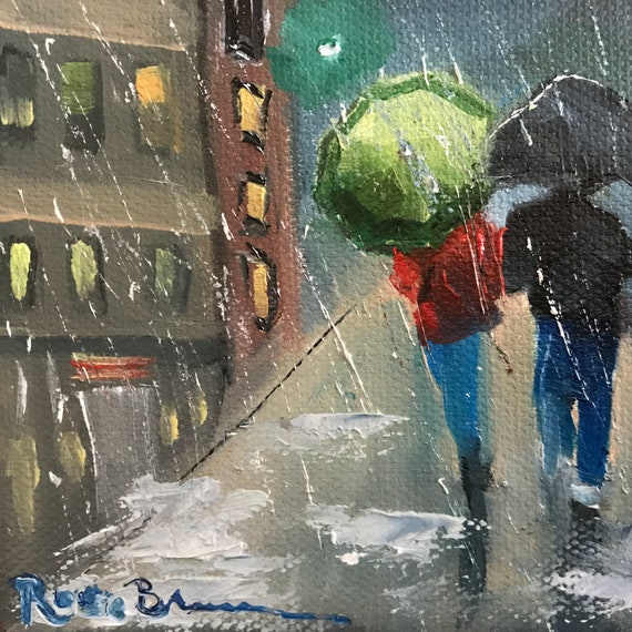 umbrella Painting, Rain Painting, Canvas painting, Small Oil Painting, Country Rustic Art