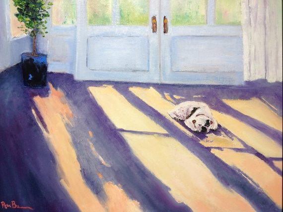 Dog Painting, boxer dog, Large Oil Painting, Gifts for Her, Gifts for Dog Lovers, Sleeping Dog