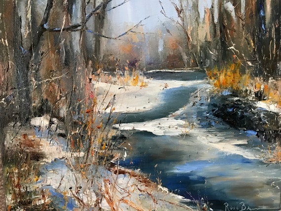 Winter Painting, Canvas Painting,  Snow Landscape, Large Oil Painting, Midwest scenery