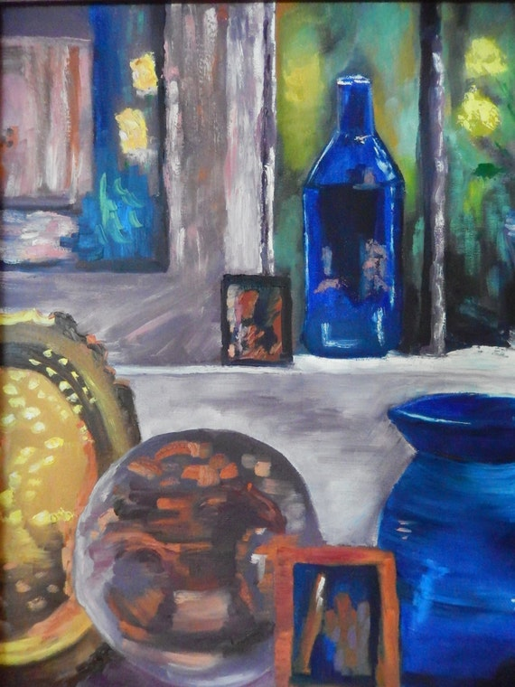 Blue Bottles Bronze Still Life, Large Oil Painting, Landscape painting, Still Art, Blue Bottles
