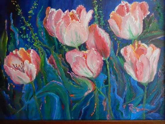 Pink Flower Painting, Spring Painting, Large flower Painting, Pink Tulips