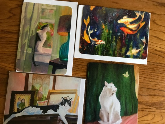 Blank Cards, Art Notecard Sampler, Original Art Notecards, Art Stationary, Greeting Cards, Painting Cards
