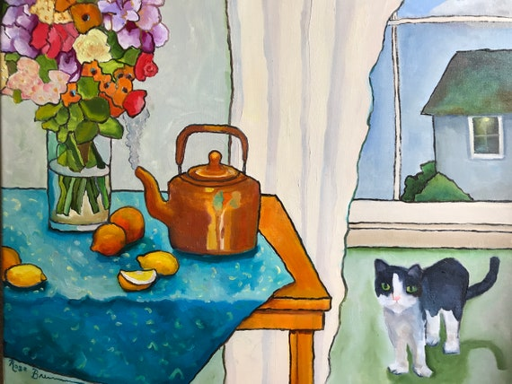Bergamot Morning, flower painting, copper kettle, oil painting, canvas painting, cat painting