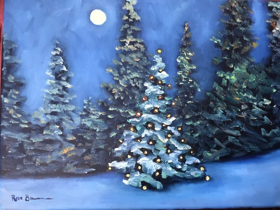 Christmas trees, Xmas tree, woods, nocturne, full moon, canvas painting