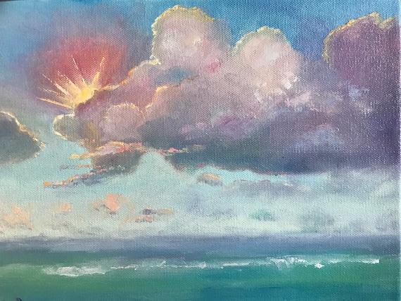 Sunrise, Water Art, Landscape Painting, Vacation Painting,  Misty waterscape painting