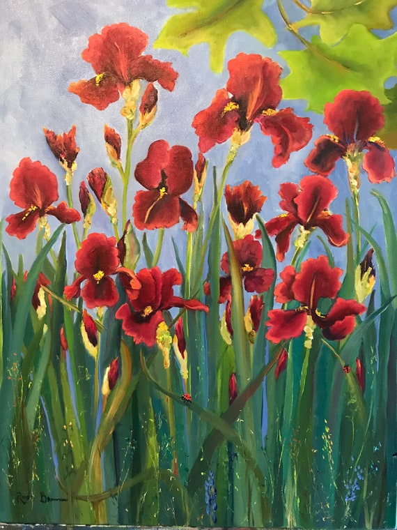 Flower painting, iris painting, red flower art,  Landscape Painting, flower garden