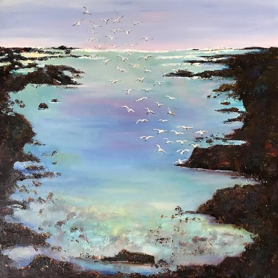 Large Ocean Painting, Seascape Oil Painting, Coastal Low Tide, Beach Tide Pool