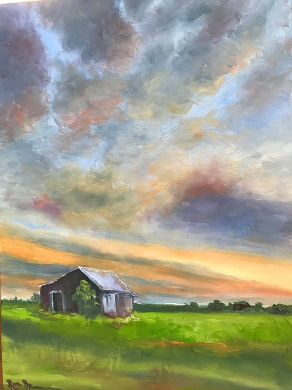 Burnt Orange, Sunrise Painting, Barn Art, Landscape Painting, Sky Painting, Rural country painting