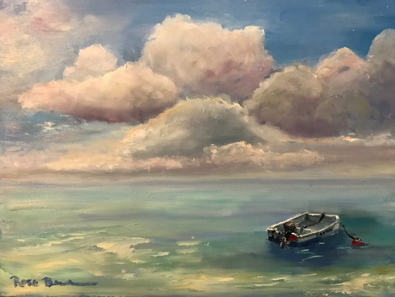 Boat painting, ocean painting, oil painting, waterscape, rescue boat, big sky painting