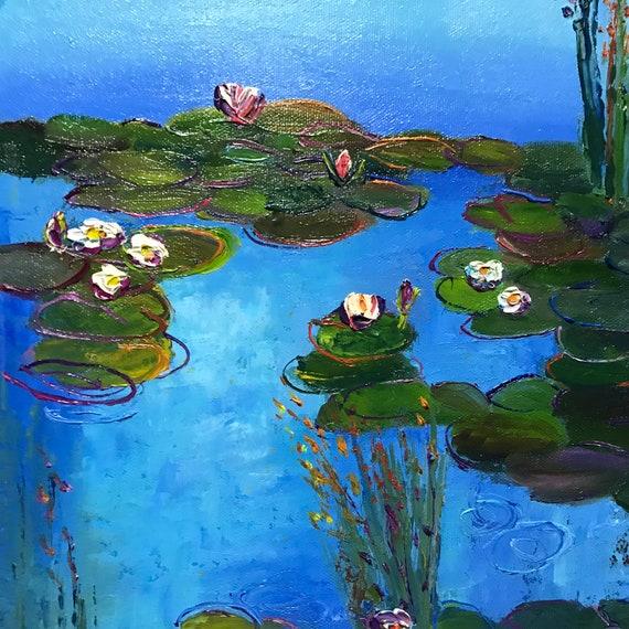 Blue Water Lilies, Blue Art,  Monet style Lily Pond, Oil Painting, Landscape