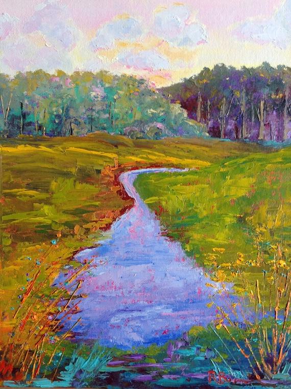 Impressionist Painting, Home Decor, Landscape Painting, Marshlands