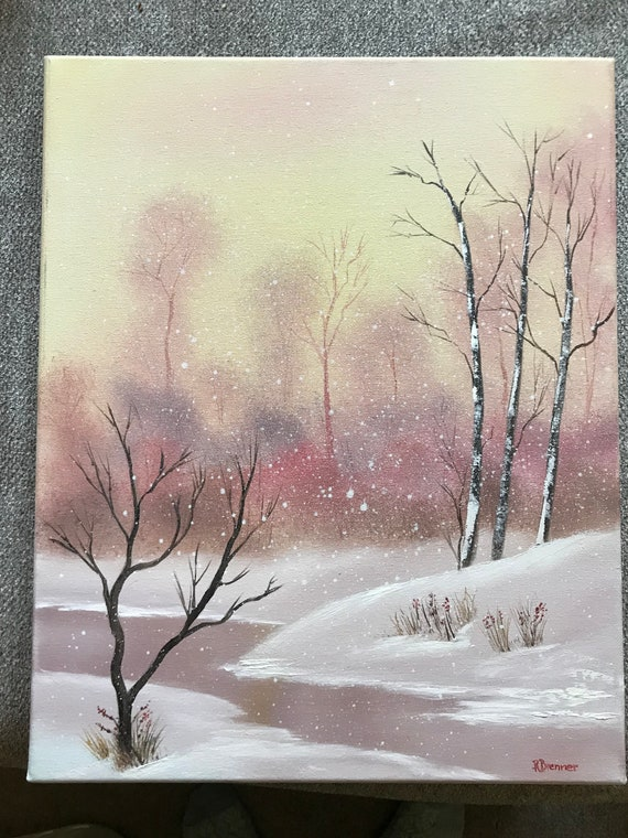 Winter Painting, Snow Painting, Large Painting, Pastel Color Painting, Gifts for Her