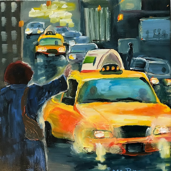 Cityscape, City painting, Miniatures, Taxi painting, Small Art, Tiny painting