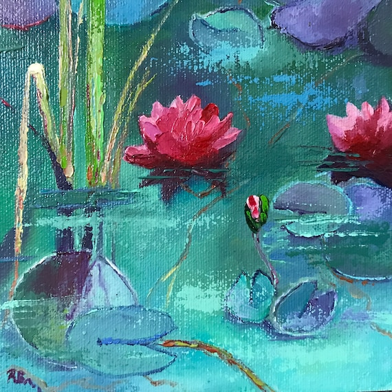 Pink Water Lilies, Lily Pad, Lily Pond, Monet style decor, Sea Foam Green