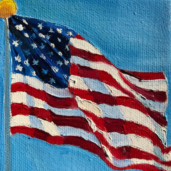 Flag Painting, Small Oil Painting,  Old Glory, Country Rustic Art, Americana