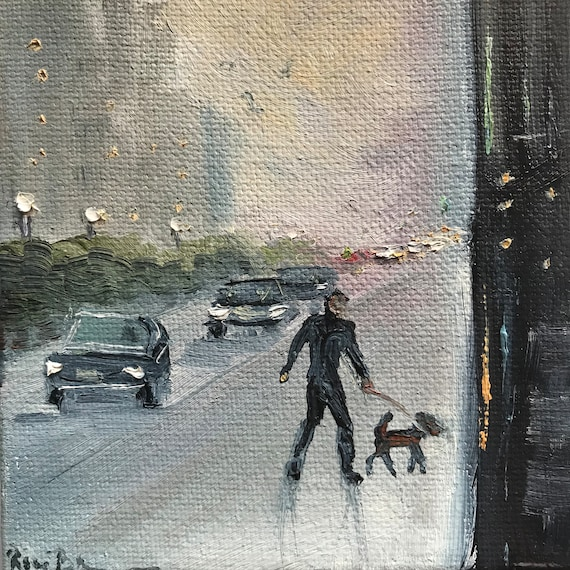 Rainy day painting, city streets, dog painting, Miniatures, Landscape Art,  Small Art, Tiny painting