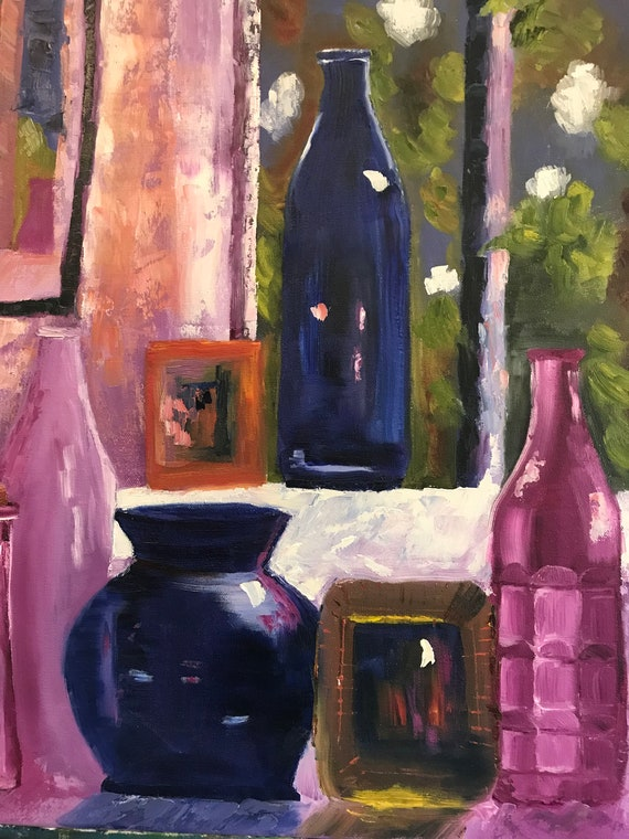 Bottles in the Window, Large Oil Painting, Landscape painting, Still Art, Purple Bottles