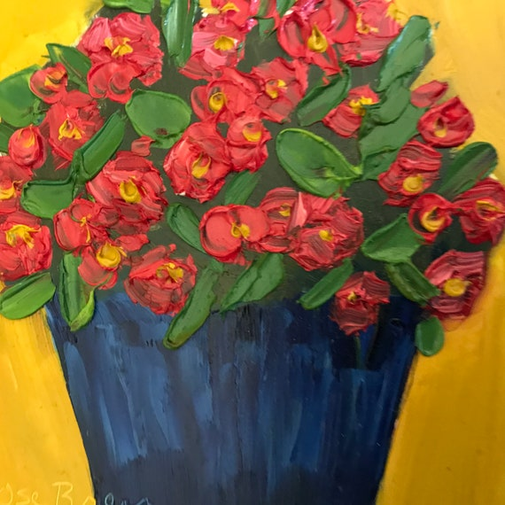 Red flowers, impatiens, painting, Flower Art, Miniatures, Spring flowers, Small Art, Tiny painting