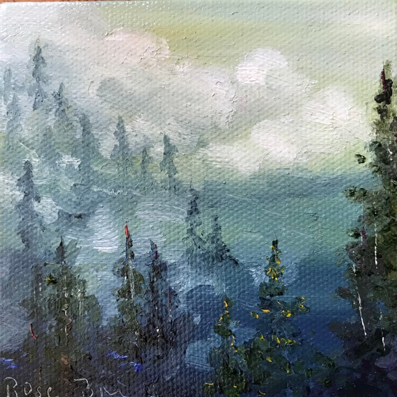 Forest Painting, Miniatures, mountain Painting with Easel, Miniature Art, Small Art