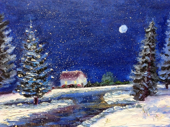 Snow Painting, Winter Painting, landscape painting, woods painting, Snow Scene