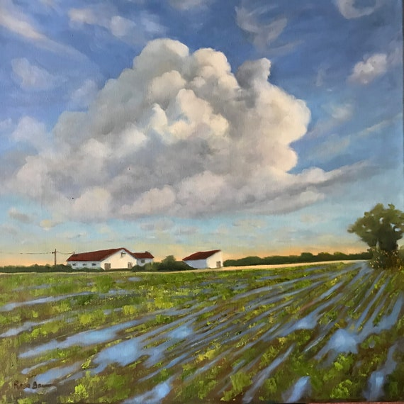 Flooding Painting, Summer sky, Extra Large Painting,  Rustic Canvas Painting, Rustic Farm Oil Painting