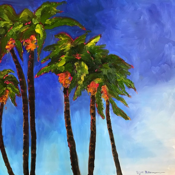 Ocean painting, palm trees, Jamaica scenery, Seascape, Oil Painting, water art, vacation art