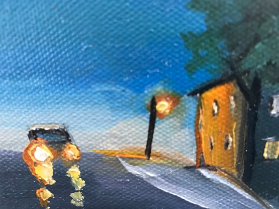 Night painting, tiny painting, Car painting,  Nocturne  Art, Landscape Painting, Miniatures