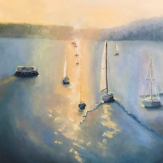 XLPainting, Water Painting, Sailboats, Deep Blue Sea, Ocean Painting, Lake Monroe Indiana