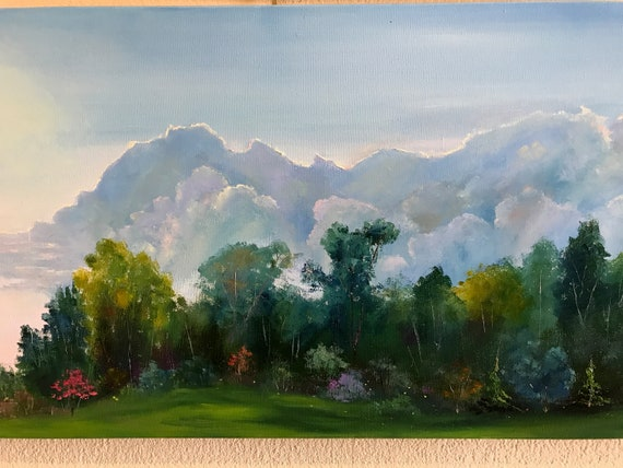 Sky Painting, Cloud Painting, Extra Large Painting, Sky Painting Art, Landscape, long thin painting
