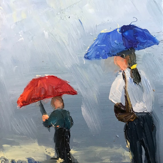 Rainy day painting, City Nocturne, Small Oil Painting,  Rain Painting, Umbrellas, Tiny Art