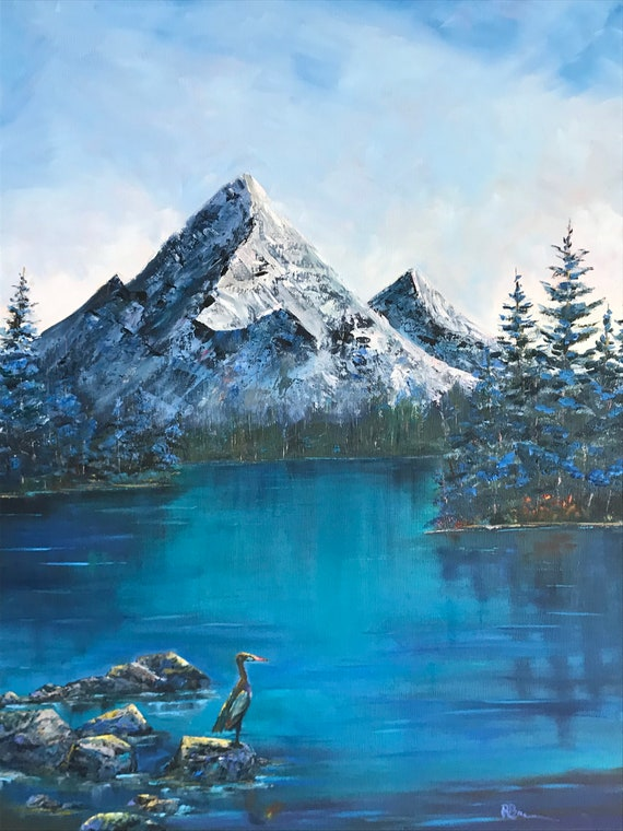 Mountain painting, Winter Scene, Extra Large Painting, Bird Art, Turquoise, Teal Blue