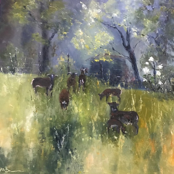 Sheep painting, Plein Air, Soay sheep, Farm Painting, Large oil Painting, Animal painting