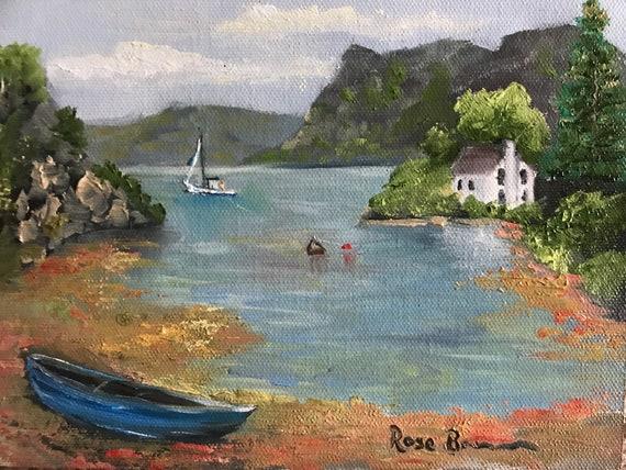 Boat painting, small painting, secret Santa gift, office gift, lake scene