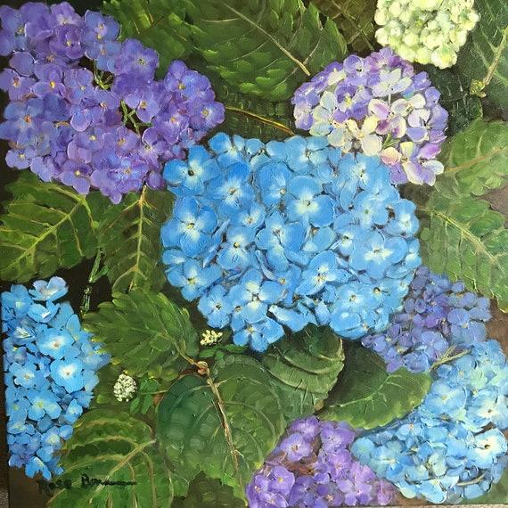 Flower Painting, Extra Large Painting, Oil canvas painting, hydrangeas, blue flowers, purple flowers