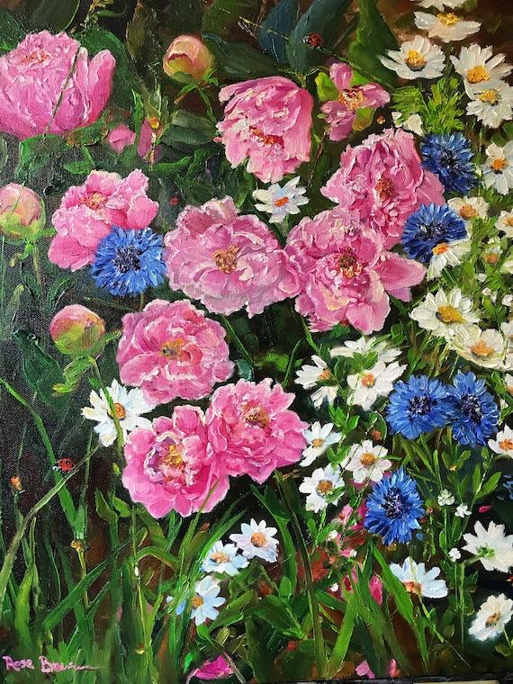 Flower painting, pink peonies, pink flower art,  Landscape Painting, flower garden