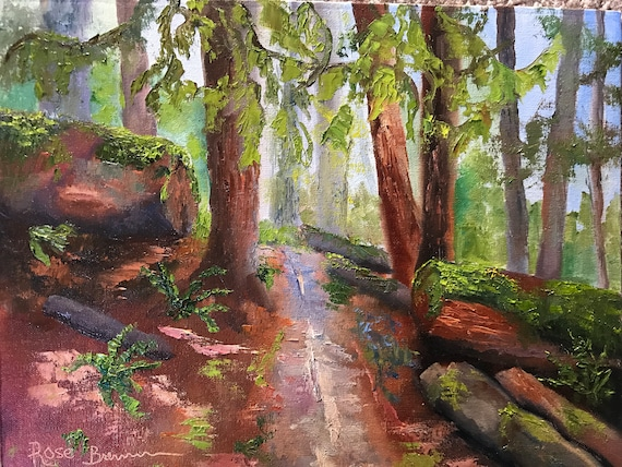 Hiking painting, redwoods, hiking trail, Eagle Creek, Oregon, Oil Painting, Landscape painting