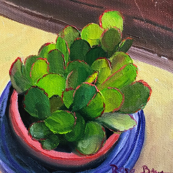 jade plant Painting, Small Oil Painting,  Bright green art, kitchen art