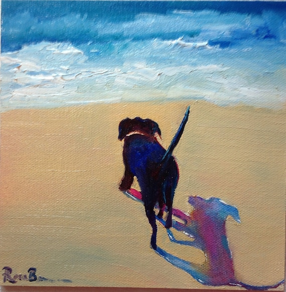 Seascape, Ocean Painting, Dog Art, Small Art, Rainbow