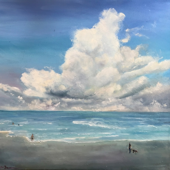 Beach Painting, Cloud Decor, Extra Large Painting, Sky Painting Art, Waterscape