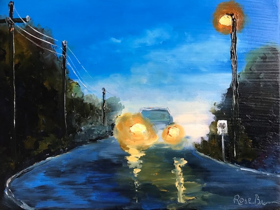 Car painting, Blue art, nocturne, street scene, nocturne street painting