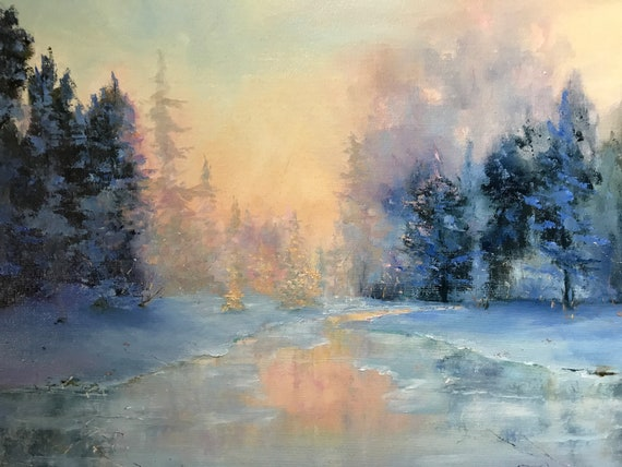 Sunrise Painting, Golden Landscape, Dawn Art Painting, Landscape Painting, Nocturne Decor
