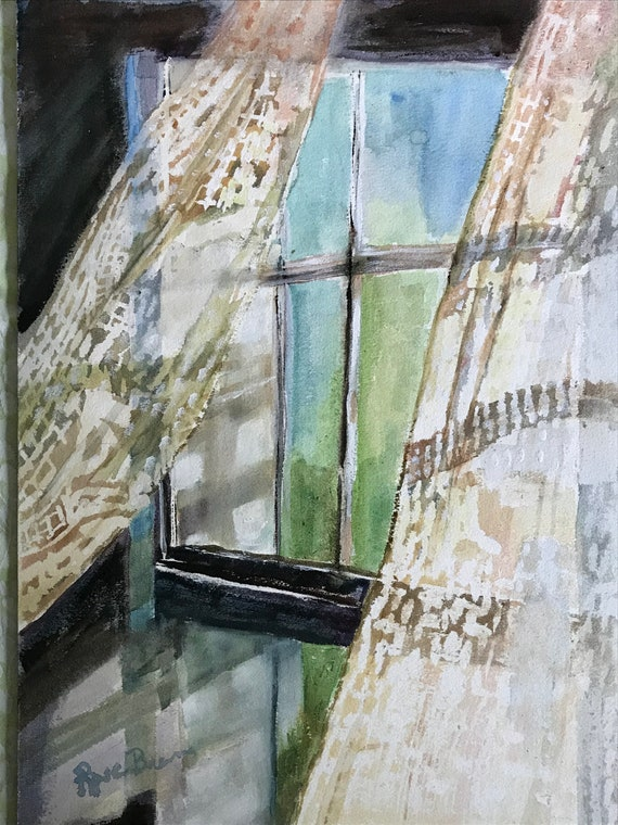 Lace painting, Window painting, Lace curtains, Rustic, Midwestern Scene,