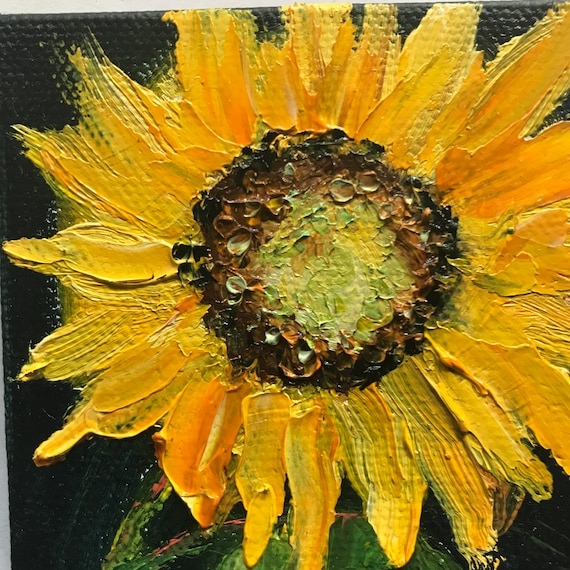Sunflower Painting, Miniatures, Flower Painting with Easel, Still Life, Small Art