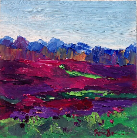 Small Oil Painting, Small Landscape Painting, rural painting, spring field of flowers