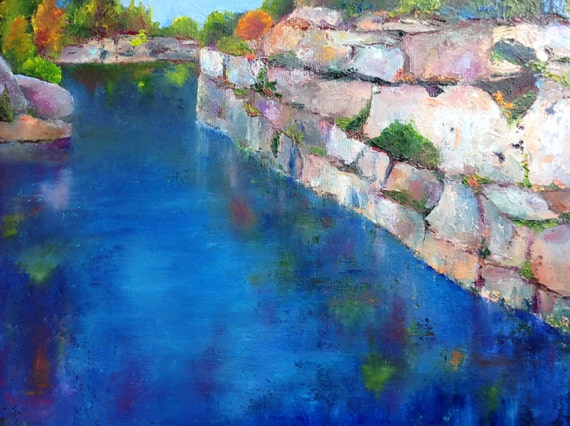 Quarry Painting, wall art, water art, blue art, Indiana Art