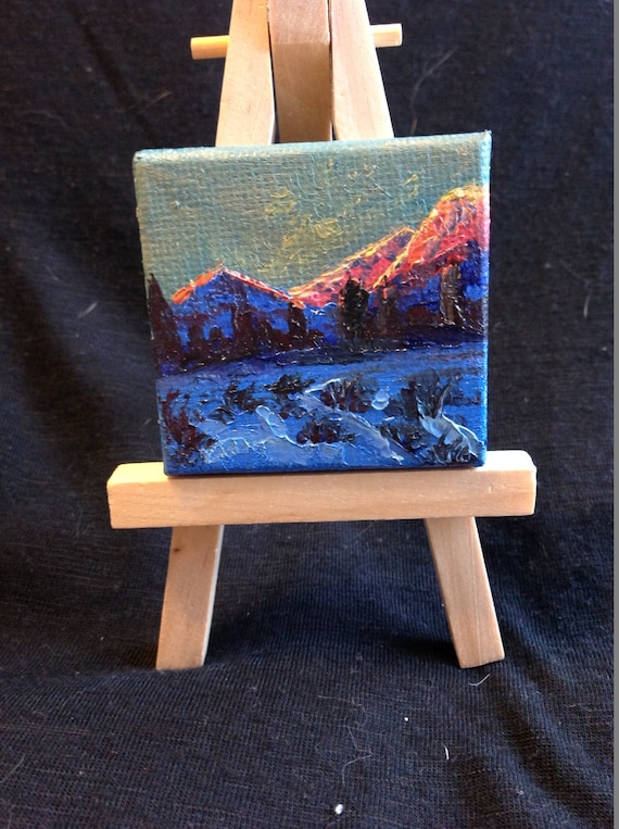 Miniatures, Mountain Sunrise Painting with Easel, Mountain, Landscape Painting,